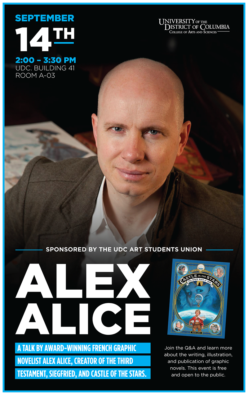 Poster Graphic of Alex Alice event on Sept. 14 ,2017 at 2pm
